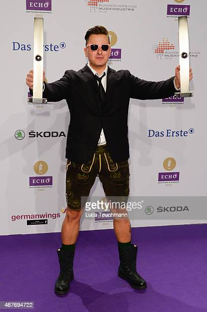 Andreas Gabalier poses with his prize at the Echo Award 2015 winners board on March 26 2015 in Berlin Germany