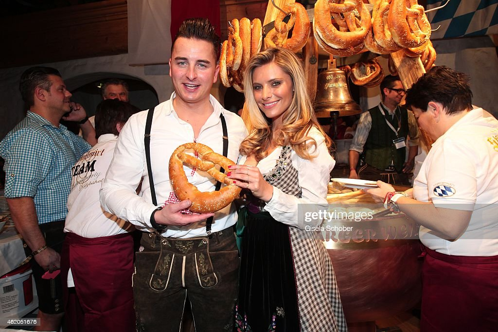 Andreas Gabalier, Sophia Thomalla during the Weisswurstparty at Hotel Stanglwirt on January 23, 2015 in Going, Austria.