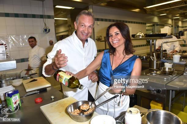 Andreas Geitl and Gitta Saxx during the 'La Dolce Vita Grillfest' at Gruenwalder Einkehr on July 25 2017 in Munich Germany