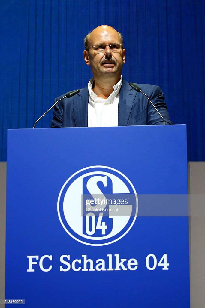 Andreas Gossmann candidates for the supervisory board during the FC Schalke 04 general assembly at Veltins Arena on June 26, 2016 in Gelsenkirchen, Germany.