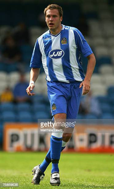Andreas Granquist of Wigan Athletic in action during the PreSeason Friendly match between Halifax Town and Wigan Athletic at The Shay on July 28 2007...