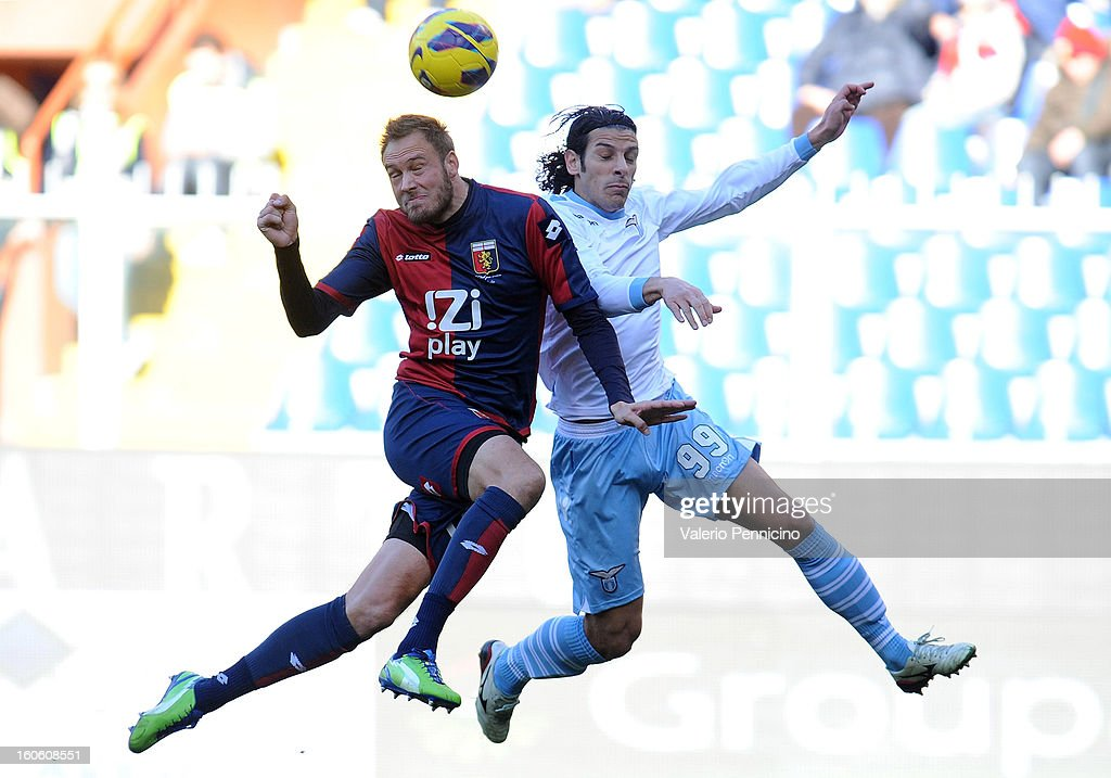 Andreas Granqvist (L) of Genoa CFC goes up with Sergio Floccari of S.S. Lazio during the Serie A match between Genoa CFC and SS Lazio at Stadio Luigi Ferraris on February 3, 2013 in Genoa, Italy.