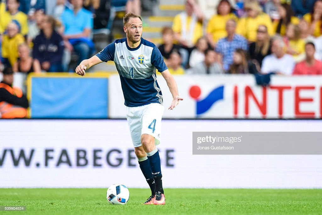 <a gi-track='captionPersonalityLinkClicked' href=/galleries/search?phrase=Andreas+Granqvist&family=editorial&specificpeople=3016250 ng-click='$event.stopPropagation()'>Andreas Granqvist</a> of Sweden during the international friendly match between Sweden and Slovenia May 30, 2016 in Malmo, Sweden.