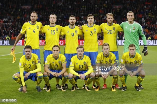Andreas Granqvist of Sweden Filip Helander of Sweden Marcus Berg of Sweden Victor Lindelof of Sweden Ola Toivonen of Sweden goalkeeper Robin Olsen of...