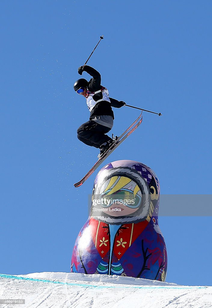 Andreas Haatveit of Norway trains during Ski Slopestyle practice at the Extreme Park at Rosa Khutor Mountain ahead of the Sochi 2014 Winter Olympics on February 5, 2014 in Sochi, Russia.