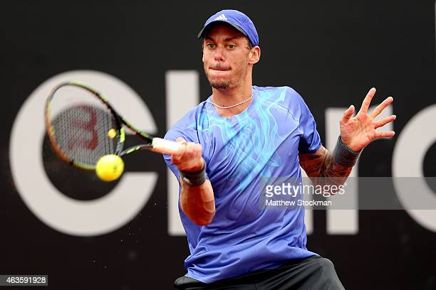 Andreas HaiderMaurer of Austria returns a shot to Albert RamosVinolas of Spain during the Rio Open at the Jockey Club Brasileiro on February 16 2015...