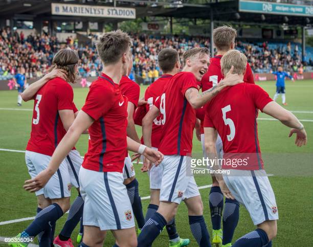 Andreas HancheOlsen celebrate goals with Birk Risa of Norway during the Qualifying Round European Under 21 Championship 2019 between Norway v Kosovo...