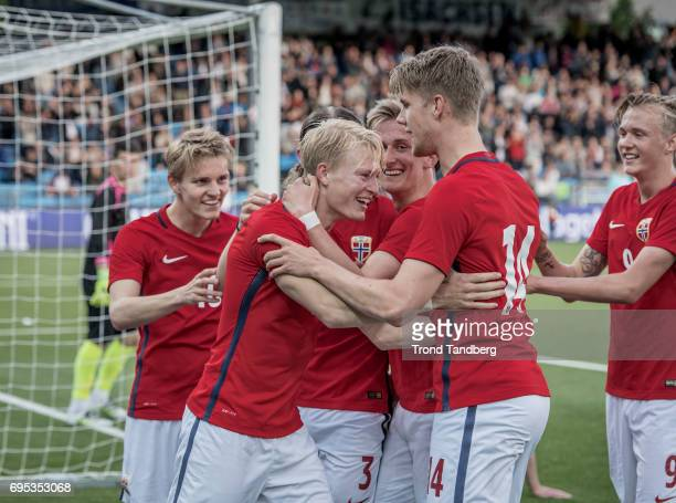 Andreas HancheOlsen celebrate goals with Martin Odegaard Julian Ryerson Erlend Reitan Kristoffer Ajer Birk Risa of Norway during the Qualifying Round...