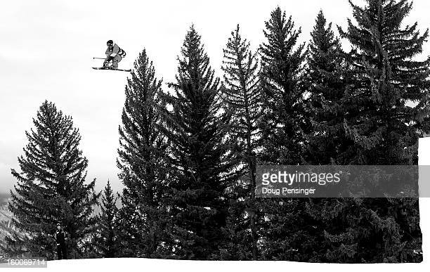Andreas Hatveit of Norway goes airborne in the Men's Ski Slopestyle Elimination during Winter X Games Aspen 2013 at Buttermilk Mountain on January 25...