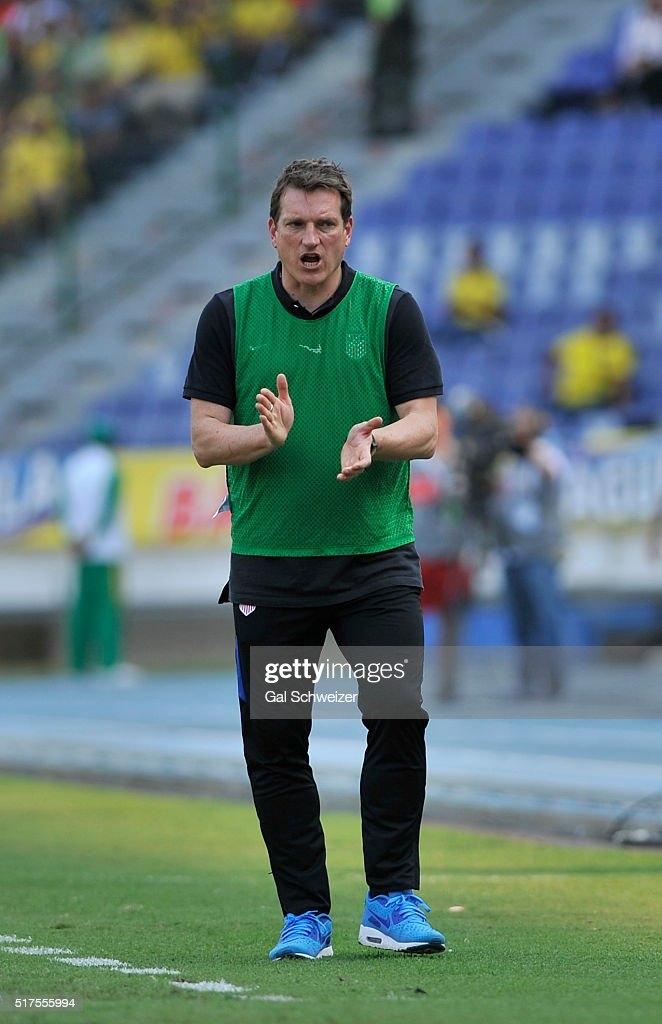 Andreas Herzog coach of US gestures during a U-23 Olympic Qualifying Playoff match between Colombia and USA at Metropolitano Roberto Melendez Stadium on March 25, 2016 in Barranquilla, Colombia.