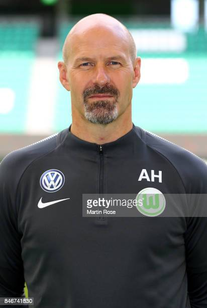 Andreas Hilfiker goalkeeper coach of VfL Wolfsburg poses during the team presentation at on September 13 2017 in Wolfsburg Germany