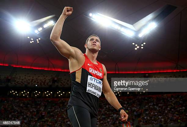 Andreas Hofmann of Germany reacts after competing in the Men's Javelin final during day five of the 15th IAAF World Athletics Championships Beijing...