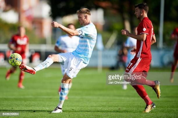 Andreas Holm of FC Helsingor in action during the Danish Alka Superliga match between FC Helsingor and FC Copenhagen at Helsingor Stadion on...