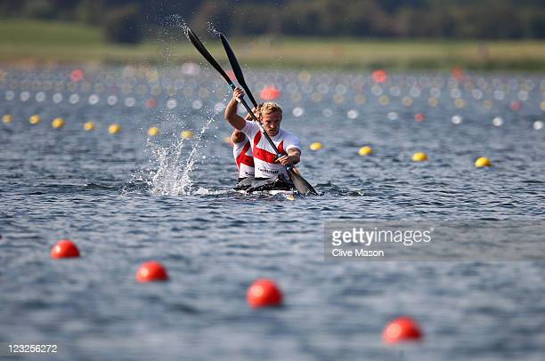 Andreas Ihle and Martin Hollstein of Germany in action during a Mens K2 Class race during day one of the London Canoe Sprint Invitational at Eton...