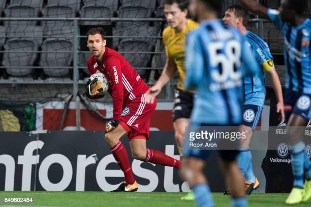 Andreas Isaksson goalkeeper of Djurgardens IF after his big save during the Allsvenskan match between IF Elfsborg and Djurgardens IF at Boras Arena...