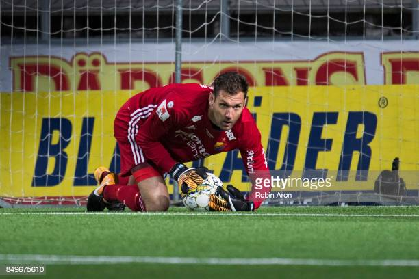 Andreas Isaksson goalkeeper of Djurgardens IF controls the ball during the Allsvenskan match between IF Elfsborg and Djurgardens IF at Boras Arena on...