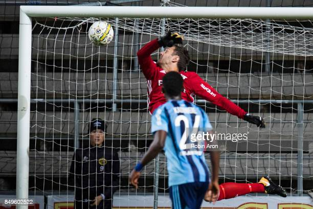 Andreas Isaksson goalkeeper of Djurgardens IF does a big save during the Allsvenskan match between IF Elfsborg and Djurgardens IF at Boras Arena on...