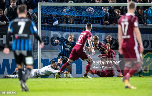 Andreas Isaksson goalkeeper of Djurgardens IF with one hand on the ball during the Allsvenskan match between IK Sirius and Djurgardens IF at...