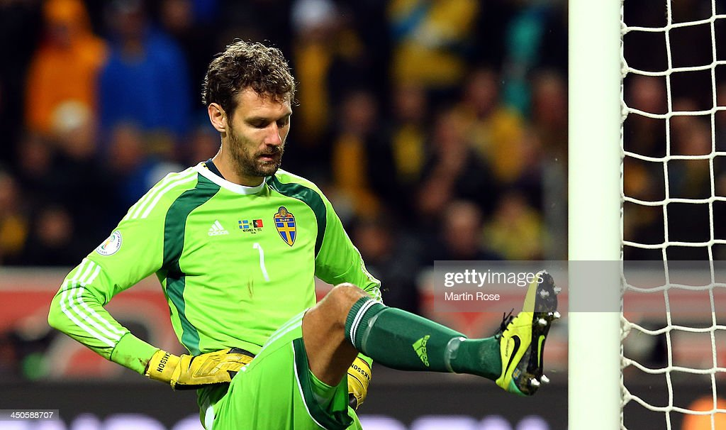 <a gi-track='captionPersonalityLinkClicked' href=/galleries/search?phrase=Andreas+Isaksson&family=editorial&specificpeople=542896 ng-click='$event.stopPropagation()'>Andreas Isaksson</a>, goalkeeper of Sweden reacts during the FIFA 2014 World Cup Qualifier Play-off Second Leg match between Sweden and Portugal at Friends Arena on November 19, 2013 in Stockholm, Sweden.
