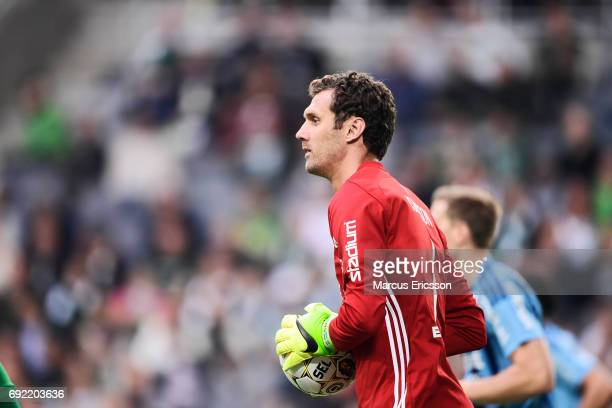 Andreas Isaksson of Djurgardens IF during the Allsvenskan match between Hammarby IF and Djurgardens IF at Tele2 Arena on June 4 2017 in Stockholm...