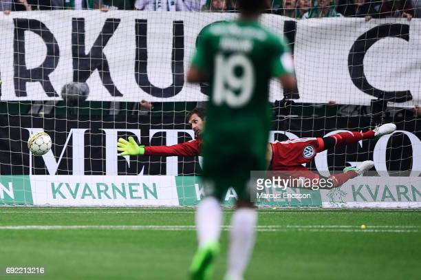 Andreas Isaksson of Djurgardens IF lets in 12 to Hammarby IF during the Allsvenskan match between Hammarby IF and Djurgardens IF at Tele2 Arena on...