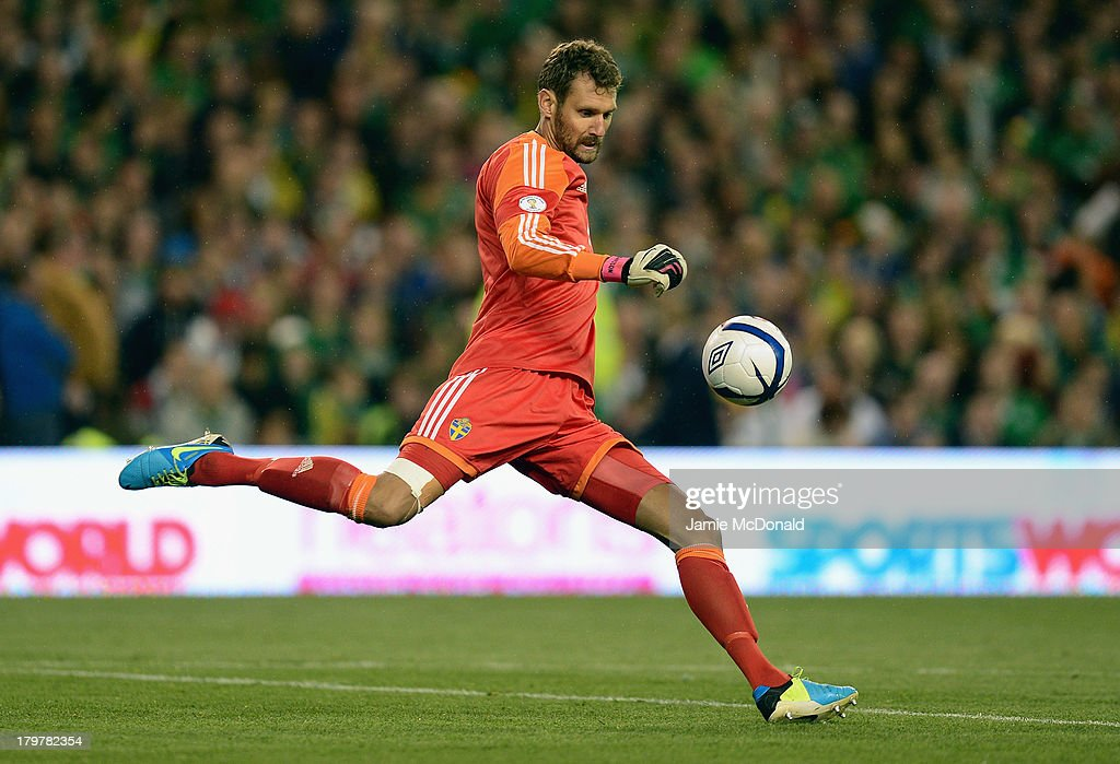 <a gi-track='captionPersonalityLinkClicked' href=/galleries/search?phrase=Andreas+Isaksson&family=editorial&specificpeople=542896 ng-click='$event.stopPropagation()'>Andreas Isaksson</a> of Sweden in action during the FIFA 2014 World Cup Qualifying Group C match between Republic of Ireland and Sweden at Aviva Stadium on September 6, 2013 in Dublin, Ireland.