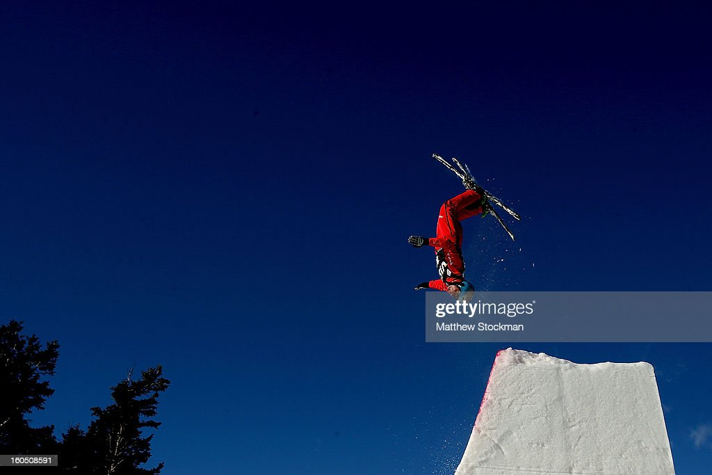 Andreas Isoz #18 of Switzerland jumps while training for the Mens Aerials during the Visa Freestyle International at Deer Valley on February 1, 2013 in Park City, Utah.