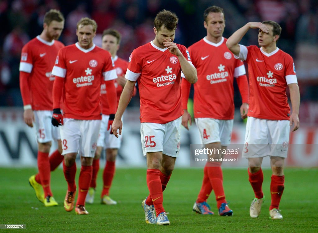<a gi-track='captionPersonalityLinkClicked' href=/galleries/search?phrase=Andreas+Ivanschitz&family=editorial&specificpeople=2140350 ng-click='$event.stopPropagation()'>Andreas Ivanschitz</a> of Mainz reacts after the Bundesliga match between 1. FSV Mainz 05 and FC Bayern Muenchen at Coface Arena on February 2, 2013 in Mainz, Germany.