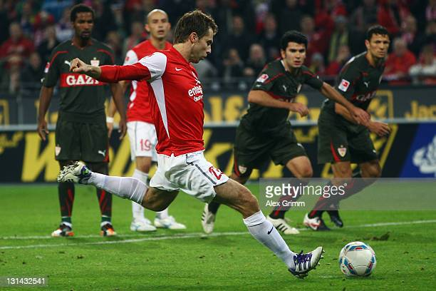 Andreas Ivanschitz of Mainz scores his team's second goal with a penalty during the Bundesliga match between between FSV Mainz 05 and VfB Stuttgart...