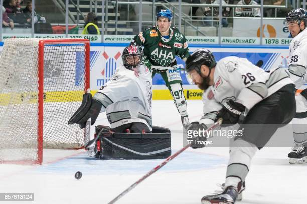 Andreas Jenike of Nuernberg Ice Tigers Matt White of Augsburger Panther Brandon Segal of Nuernberg Ice Tigers and Milan Jurcina of Nuernberg Ice...