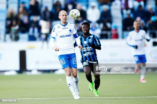 Andreas Johansson Kingsley Sarfo in action during the Allsvenskan match between IFK Norrkoping and IF Sirius FK at Ostgotaporten on April 17 2017 in...