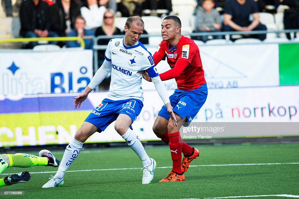 Andreas Johansson of IFK Norrkoping an Jordan Larsson of Helsingborgs IF in action during the Allsvenskan match between IFK Norrkoping and Helsingborgs IF at Ostgotaporten on May 2, 2016 in Norrkoping, Sweden.