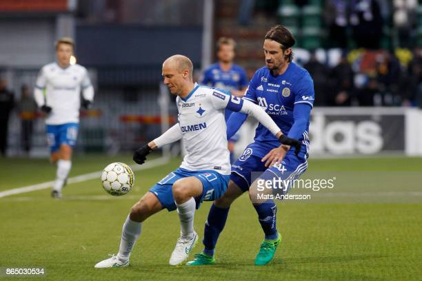 Andreas Johansson of IFK Norrkoping and Linus Hallenius of GIF Sundsvall during the Allsvenskan match between GIF Sundsvall and IFK Norrkoping at...