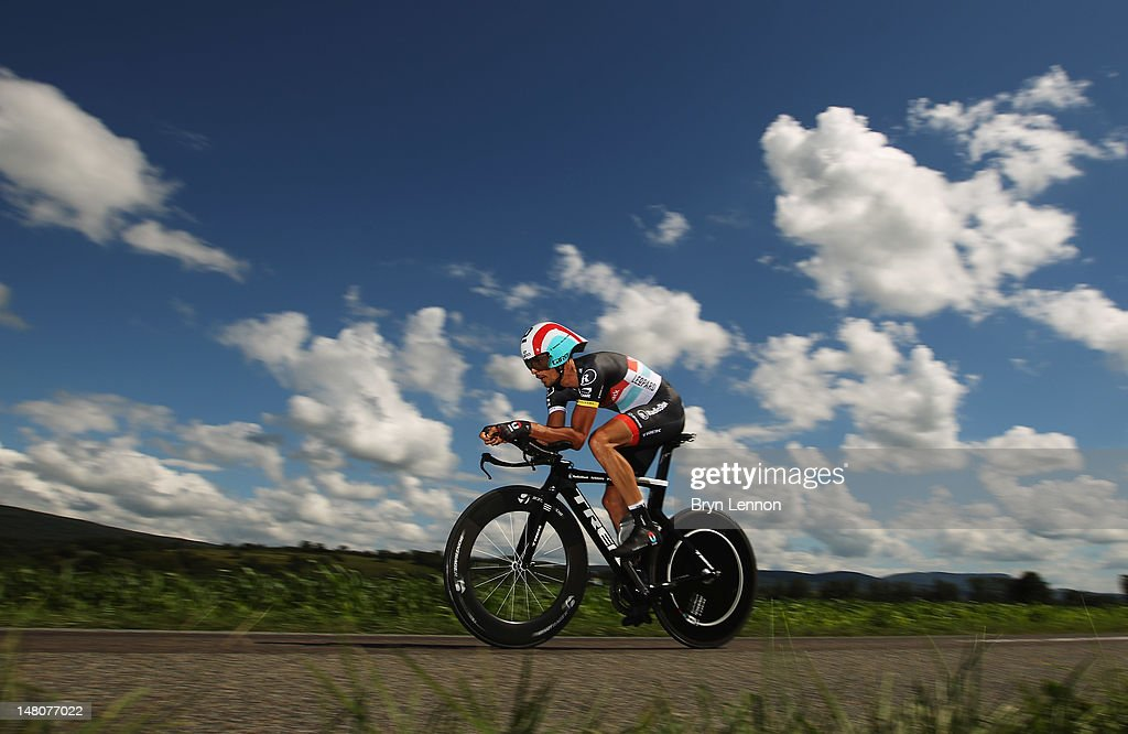 Andreas Kloden of Germany and Radioshack-Nissan in action during stage nine of the 2012 Tour de France, a 41.5km individual time trial, from Arc-et-Senans to Besancon on July 9, 2012 in Besancon, France.