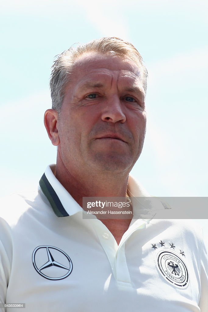 Andreas Koepcke, assistent coach of Germany arrives for a Germany press conference at Ermitage Evian on June 29, 2016 in Evian-les-Bains, France.