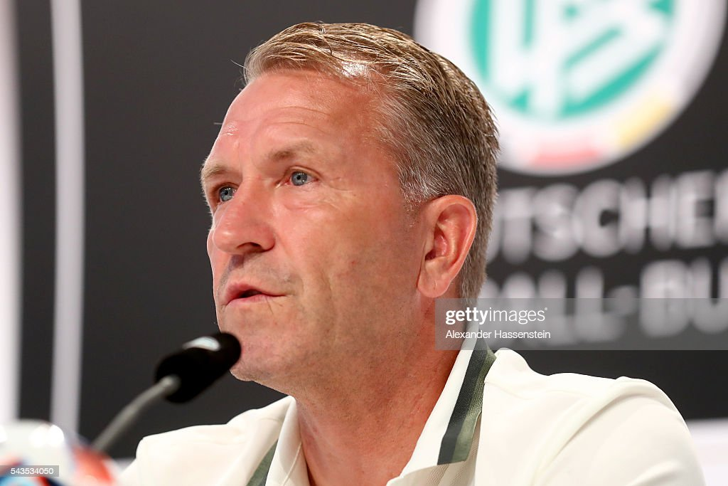 Andreas Koepcke, assistent coach of Germany talks to the media during a Germany press conference at Ermitage Evian on June 29, 2016 in Evian-les-Bains, France.