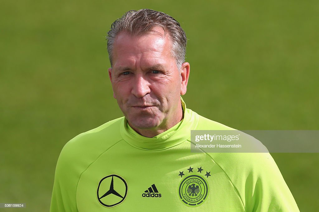 Andreas Koepcke, assistent coach of the German national team looks on during a training session at Stadio communale on day 8 of the German national team trainings camp on May 31, 2016 in Ascona, Switzerland.