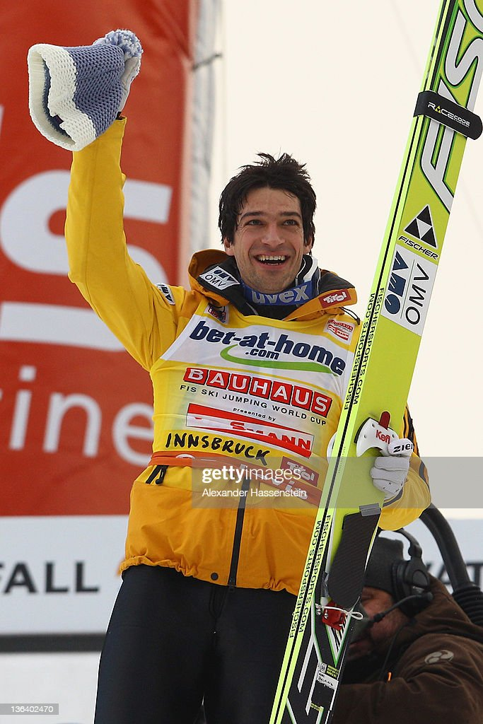 <a gi-track='captionPersonalityLinkClicked' href=/galleries/search?phrase=Andreas+Kofler&family=editorial&specificpeople=722955 ng-click='$event.stopPropagation()'>Andreas Kofler</a> of Austria celebrates winning the FIS Ski Jumping World Cup event at the 60th Four Hills ski jumping tournament at Bergisel on January 4, 2012 in Innsbruck, Austria.