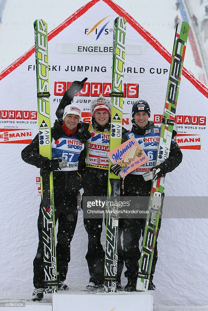<a gi-track='captionPersonalityLinkClicked' href=/galleries/search?phrase=Andreas+Kofler&family=editorial&specificpeople=722955 ng-click='$event.stopPropagation()'>Andreas Kofler</a> (second) of Austria celebrates with winner <a gi-track='captionPersonalityLinkClicked' href=/galleries/search?phrase=Thomas+Morgenstern&family=editorial&specificpeople=221616 ng-click='$event.stopPropagation()'>Thomas Morgenstern</a> of Austria and <a gi-track='captionPersonalityLinkClicked' href=/galleries/search?phrase=Wolfgang+Loitzl&family=editorial&specificpeople=2139272 ng-click='$event.stopPropagation()'>Wolfgang Loitzl</a> of Austria after the individual HS137 during in the FIS Ski Jumping World Cup on December 17, 2010 in Engelberg, Switzerland.