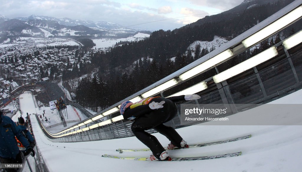 Andreas Kofler of Austria competes during the training round for the FIS Ski Jumping World Cup event of the 60th Four Hills ski jumping tournament at Erdinger Arena on December 29, 2011 in Oberstdorf, Germany.