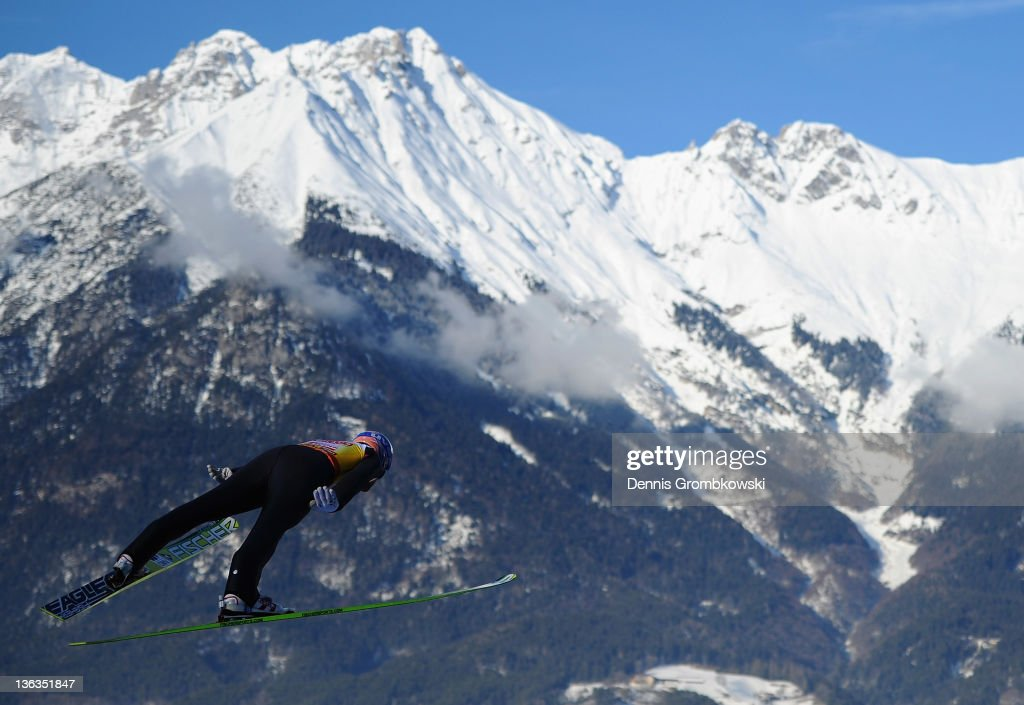 <a gi-track='captionPersonalityLinkClicked' href=/galleries/search?phrase=Andreas+Kofler&family=editorial&specificpeople=722955 ng-click='$event.stopPropagation()'>Andreas Kofler</a> of Austria competes during the training round of the FIS Ski Jumping World Cup event at the 60th Four Hills ski jumping tournament at Bergisel on January 3, 2012 in Innsbruck, Austria.