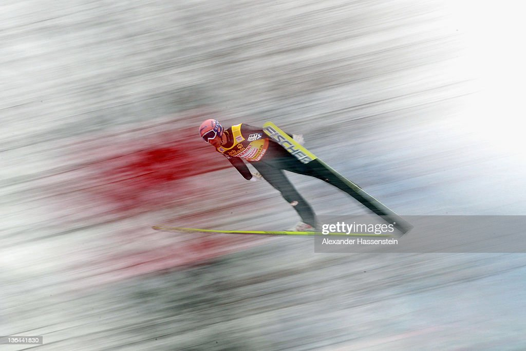 Andreas Kofler of Austria competes during the training round of the FIS Ski Jumping World Cup event at the 60th Four Hills ski jumping tournament at Paul-Ausserleitner-Schanze on January 5, 2012 in Bischofshofen, Austria.