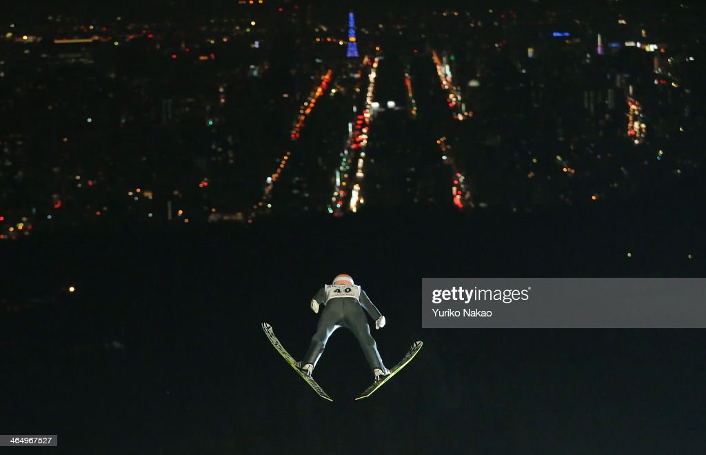 Andreas Kofler of Austria competes in the Large Hill Individual 2nd round during the FIS Men's Ski Jumping World Cup Sapporo at Okurayama Ski Jump Stadium on January 25, 2014 in Sapporo, Japan.