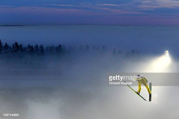 Andreas Kofler of Austria competes in the Men's Ski Jumping HS134 competition during the FIS Nordic World Ski Championships at Holmenkollen on March...