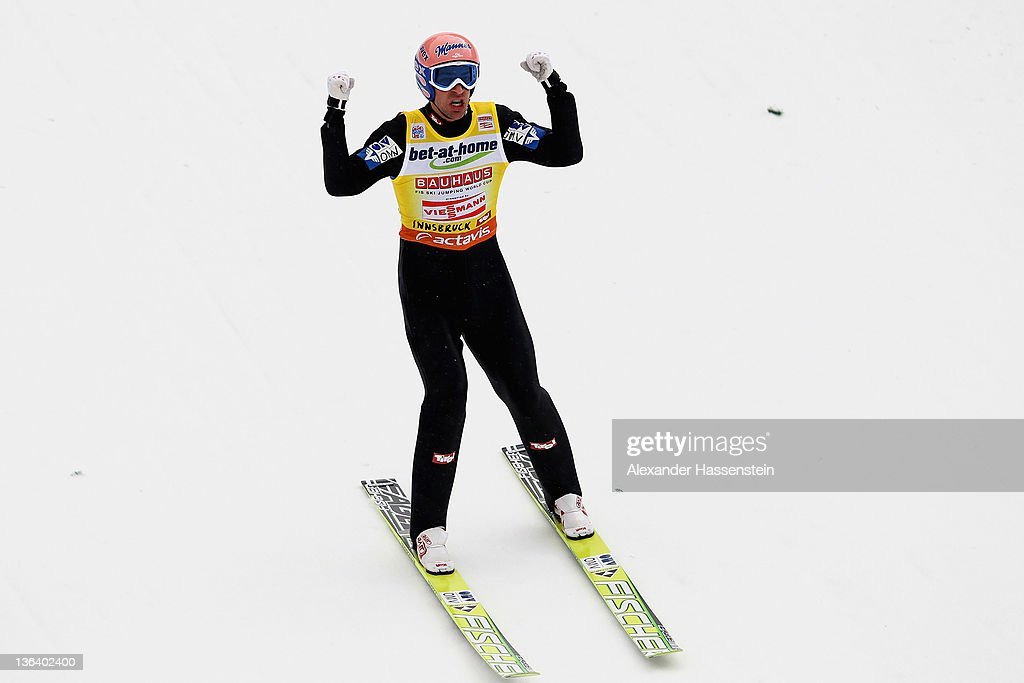 <a gi-track='captionPersonalityLinkClicked' href=/galleries/search?phrase=Andreas+Kofler&family=editorial&specificpeople=722955 ng-click='$event.stopPropagation()'>Andreas Kofler</a> of Austria reacts after the final round of the FIS Ski Jumping World Cup event at the 60th Four Hills ski jumping tournament at Bergisel on January 4, 2012 in Innsbruck, Austria.