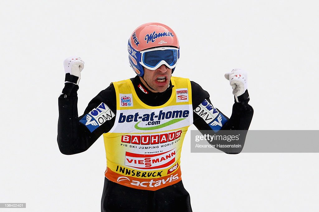 Andreas Kofler of Austria reacts after the final round of the FIS Ski Jumping World Cup event at the 60th Four Hills ski jumping tournament at Bergisel on January 4, 2012 in Innsbruck, Austria.