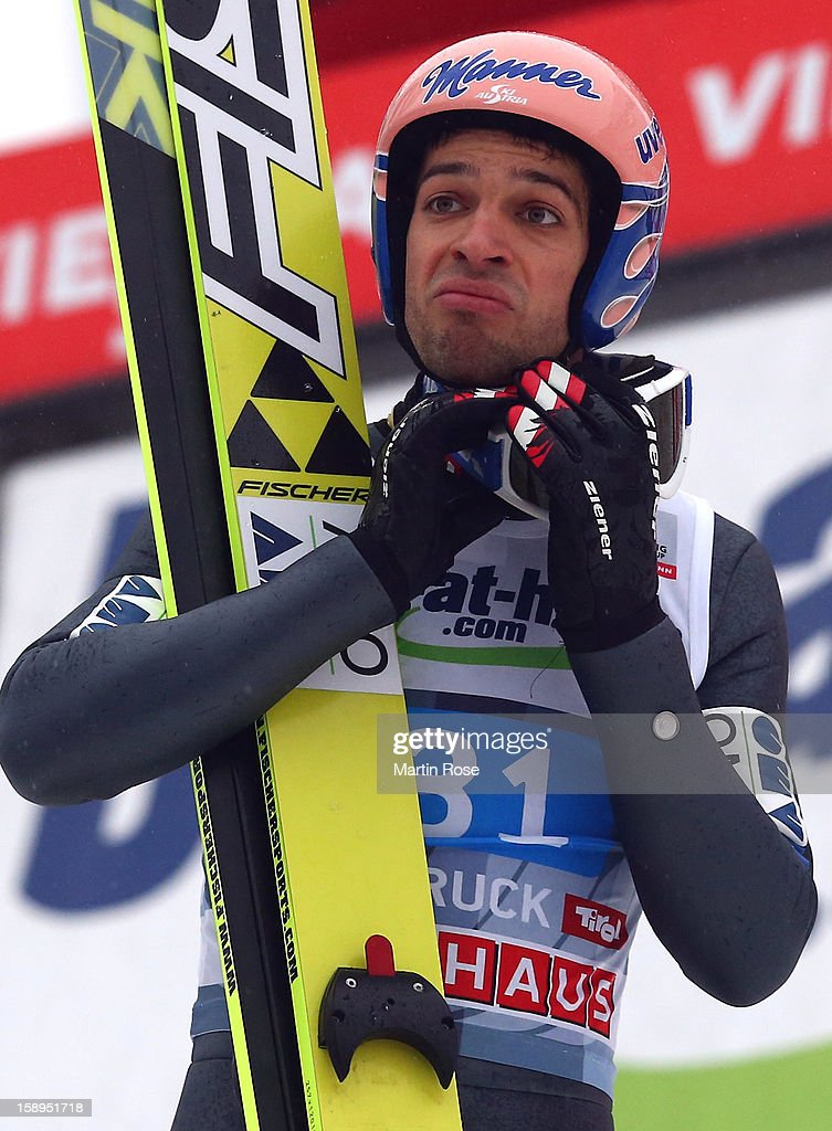 Andreas Kofler of Austria reacts during the final round for the FIS Ski Jumping World Cup event of the 61st Four Hills ski jumping tournament at Bergisel-Stadion on January 4, 2013 in Innsbruck, Austria.