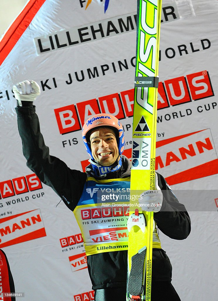 Andreas Kofler of Austria takes 1st place during the FIS Ski Jumping World Cup HS138 on December 3, 2011 in Lillehammer, Norway.
