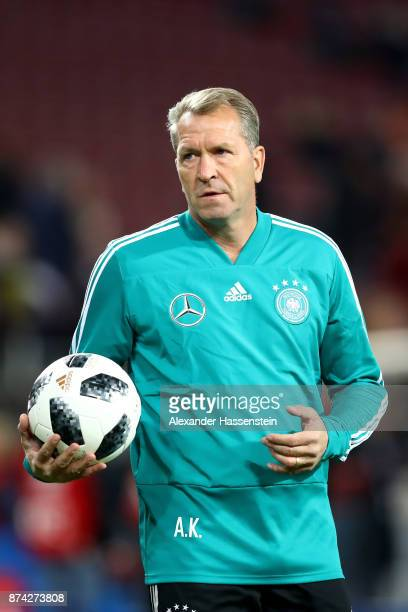 Andreas Köpke assistent coach of Germany looks on prior to the international friendly match between Germany and France at RheinEnergieStadion on...