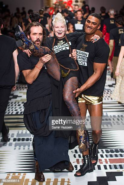 Andreas Kronthaler and Dame Vivienne Westwood walk the runway at the Fashion For Relief charity fashion show to kick off London Fashion Week...